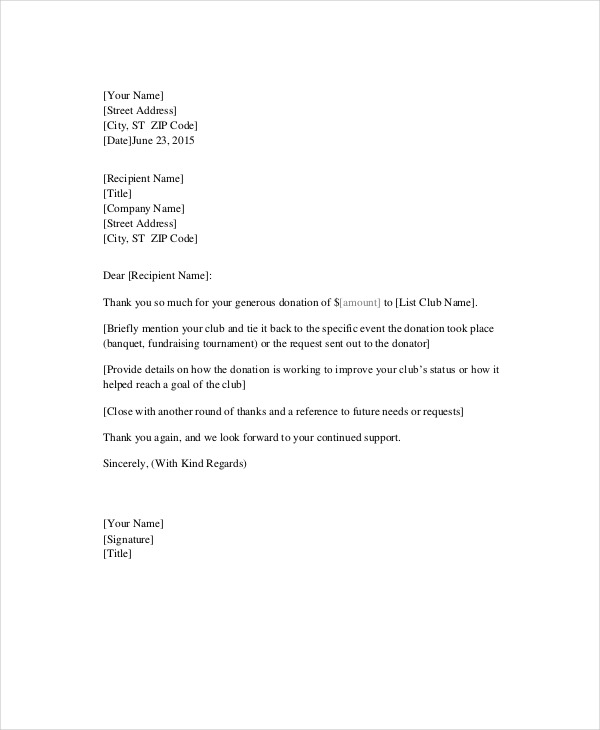 Format Of Sample Thank You Letter Template For Donation