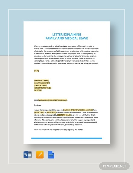 Free  Best Medical Leave Letter Examples   Templates