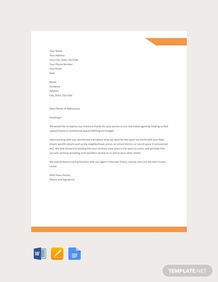 Free  Best Real Estate Thank You Letter Examples   Templates
