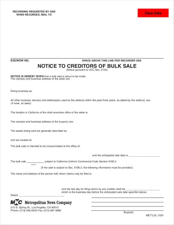 Free  Bulk Sale Notice Samples And Templates In Pdf