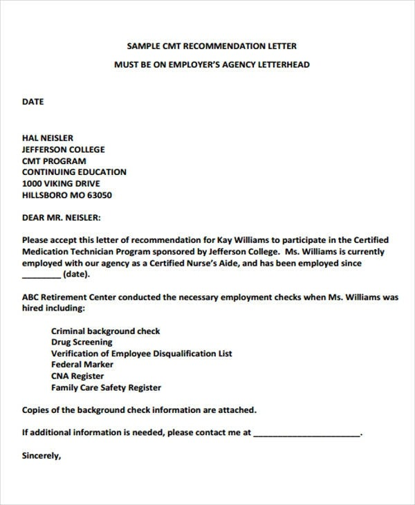 Free  Employer Recommendation Letter Samples In Ms Word
