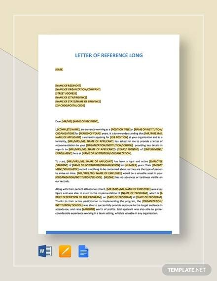 Free  Examples Of Reference Letter Templates In Ms Word