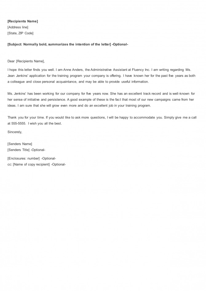 Free  Functional Job Letters  Recommendation Letter  Letter Of
