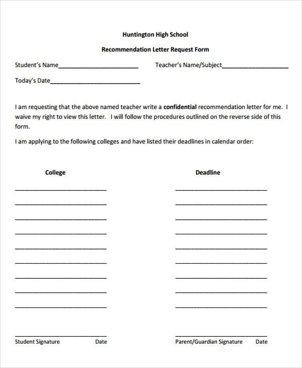 Free  High School Recommendation Letter Samples In Ms Word