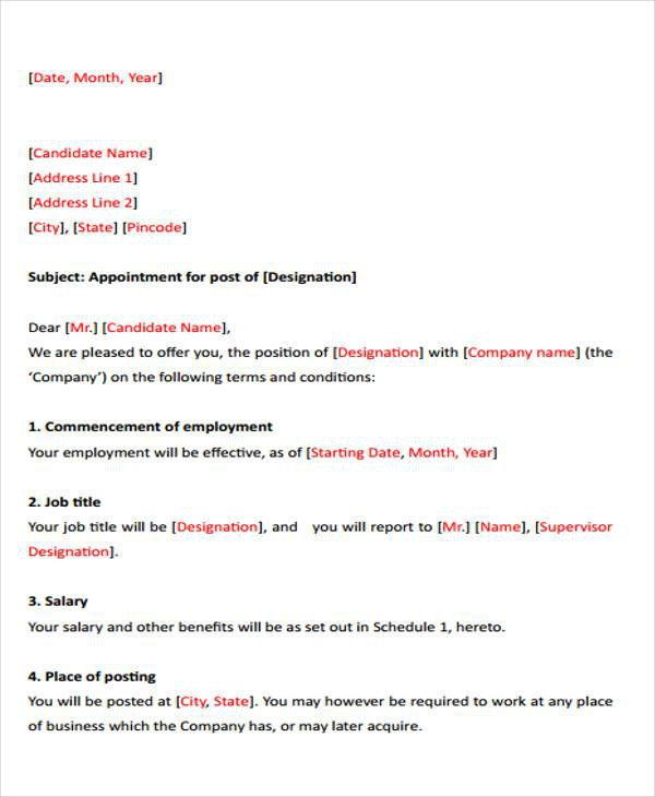 Free  Job Letter Templates In Pdf