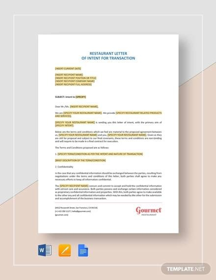 Free  Letter Of Intent Samples In Pdf