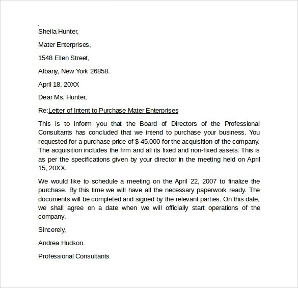 Free  Letter Of Intent To Purchase Business In Pdf