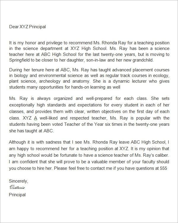 Free  Letter Of Recommendation For Teacher Samples In Pdf