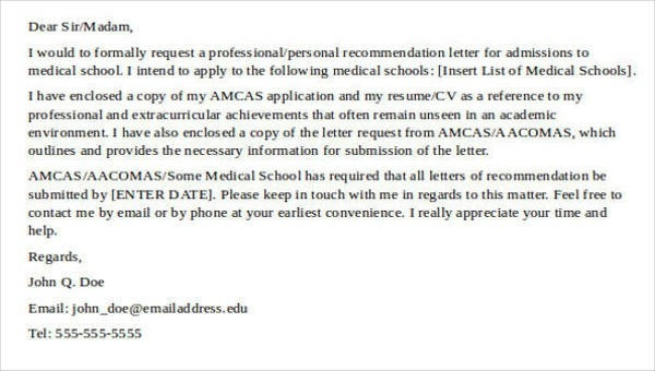 Free  Medical School Recommendation Letter Templates In Pdf