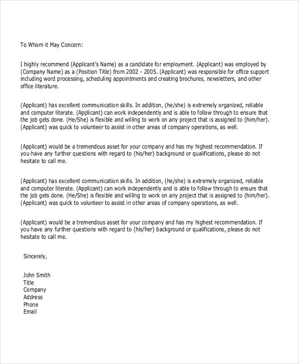 personal letter of recommendation for a job samples