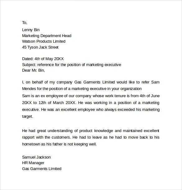 Free  Personal Reference Letter Templates In Pdf