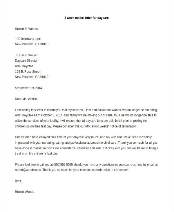 Free  Sample  Week Notice Letters In Ms Word