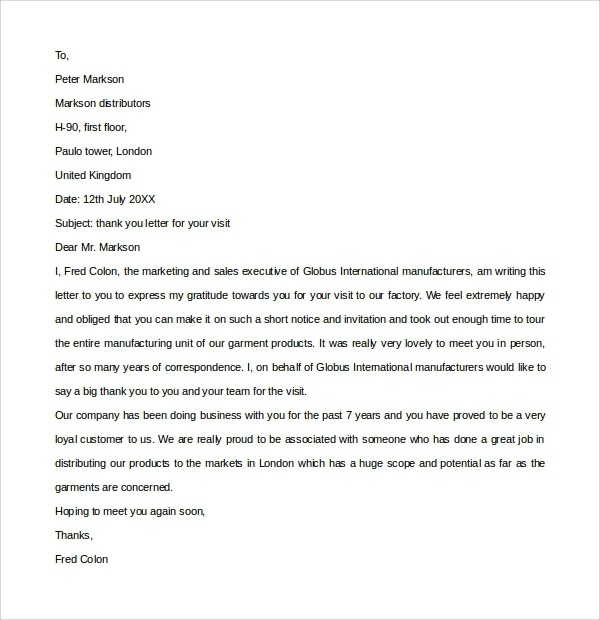 Free  Sample Customer Thank You Letter Templates In Pdf