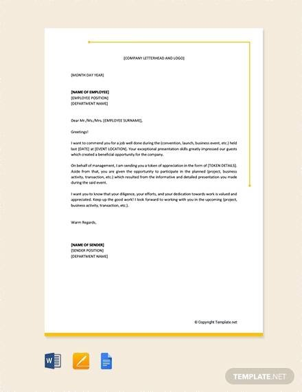 Free  Sample Employee Thank You Letter Templates In Pdf