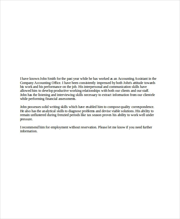 Free  Sample Employer Recommendation Letter Templates In Pdf