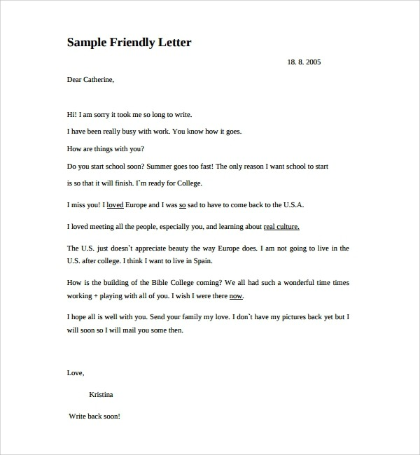 Free  Sample Friendly Letters In Pdf