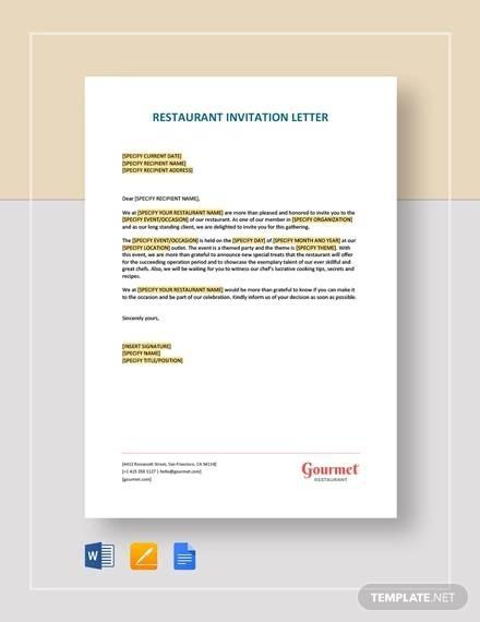 Free  Sample Invitation Letter Templates In Pdf