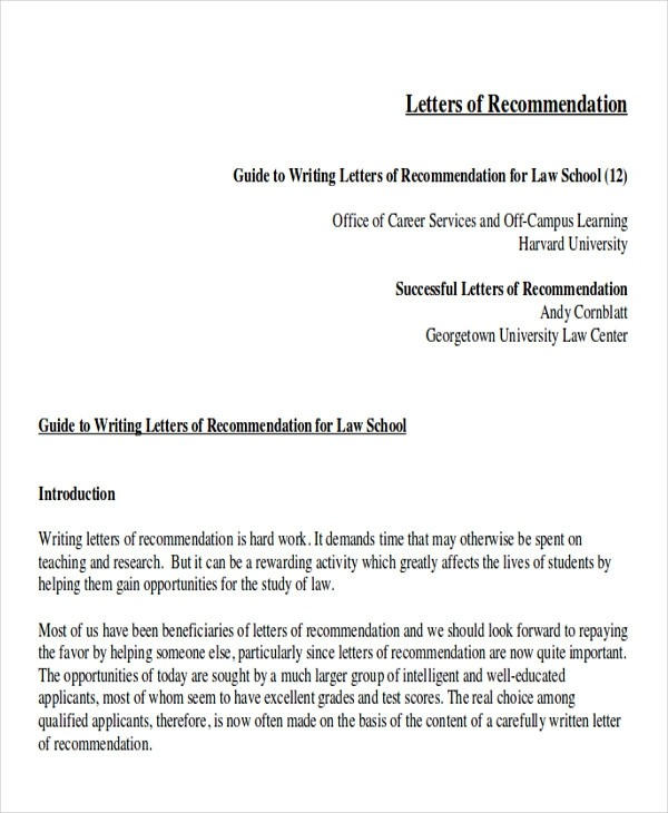 Free  Sample Law School Letter Of Recommendation In Ms Word