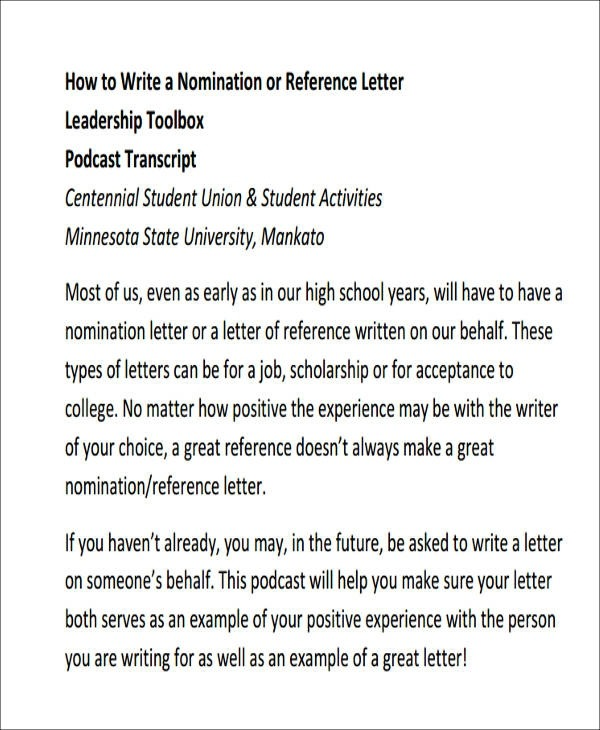 Free  Sample Leadership Recommendation Letter Templates In Pdf