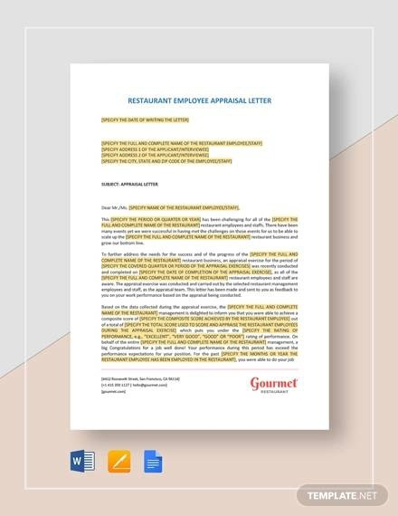 Free  Sample Letter Of Appraisals In Ms Word