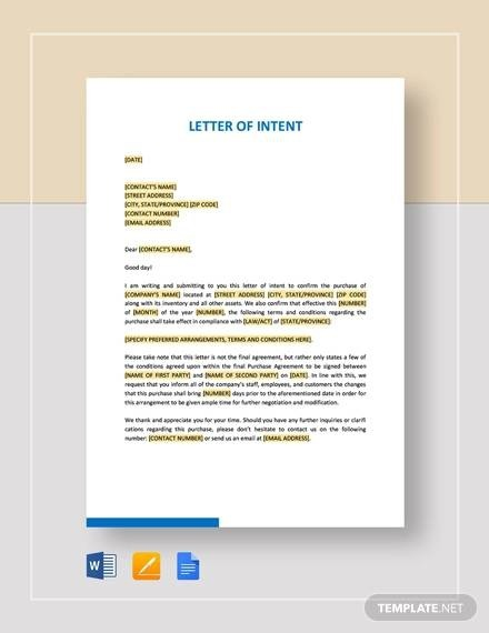 Free  Sample Letter Of Intent In Pdf