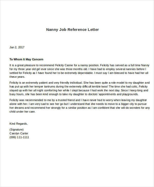 Free  Sample Nanny Reference Letter Templates In Pdf