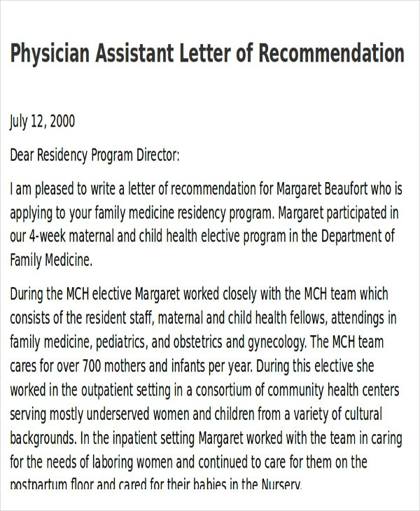 Free  Sample Physician Letter Of Recommendation In Pdf