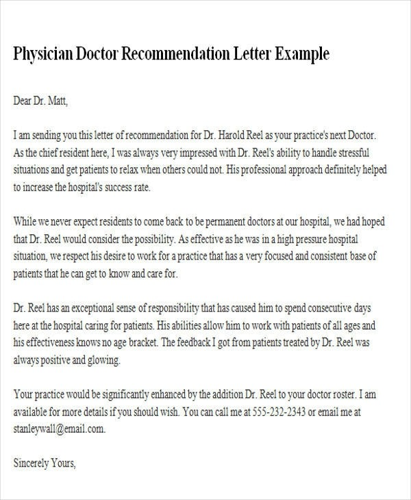 Free  Sample Physician Recommendation Letter Templates In Ms