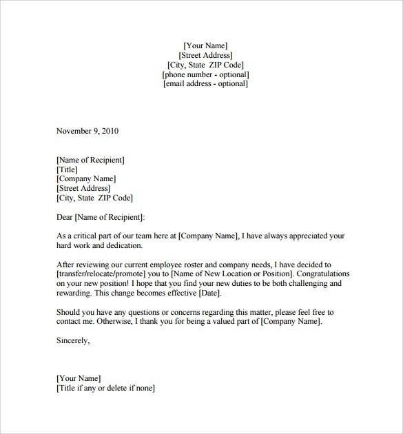 Free  Sample Promotion Letter Templates In Pdf