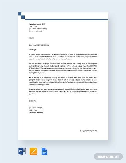 Free  Sample Recommendation Letter For High School Student In