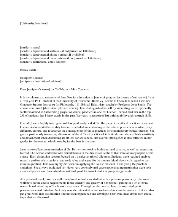 Free  Sample Recommendation Letter Formats In Pdf
