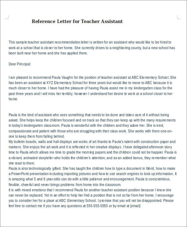 Free  Sample Reference Letter For Teachers In Pdf