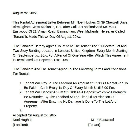 Free  Sample Rental Agreement Letter Templates In Ms Word