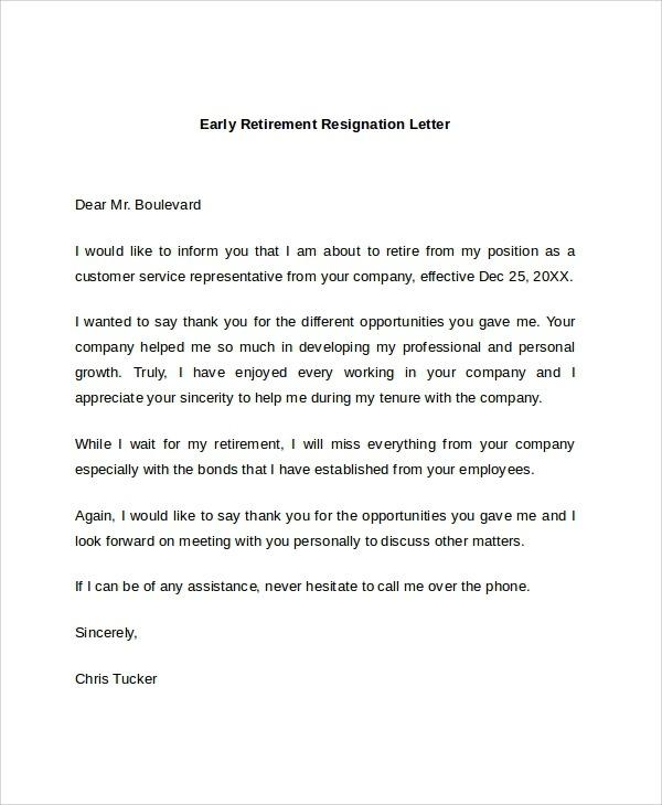 Free  Sample Retirement Resignation Letter Templates In Pdf