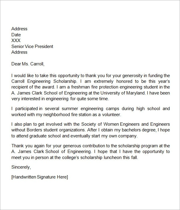 Free  Sample Scholarship Thank You Letter Templates In Ms Word