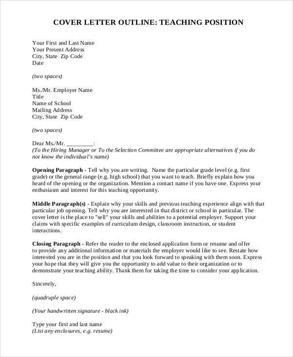 Free  Sample Teaching Cover Letter Templates In Ms Word