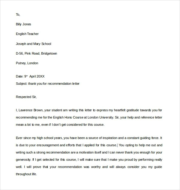 Free  Sample Thank You Letter For Recommendation In Pdf