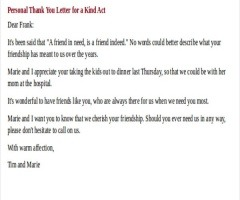 Thank You Letter Appreciation For A Friend