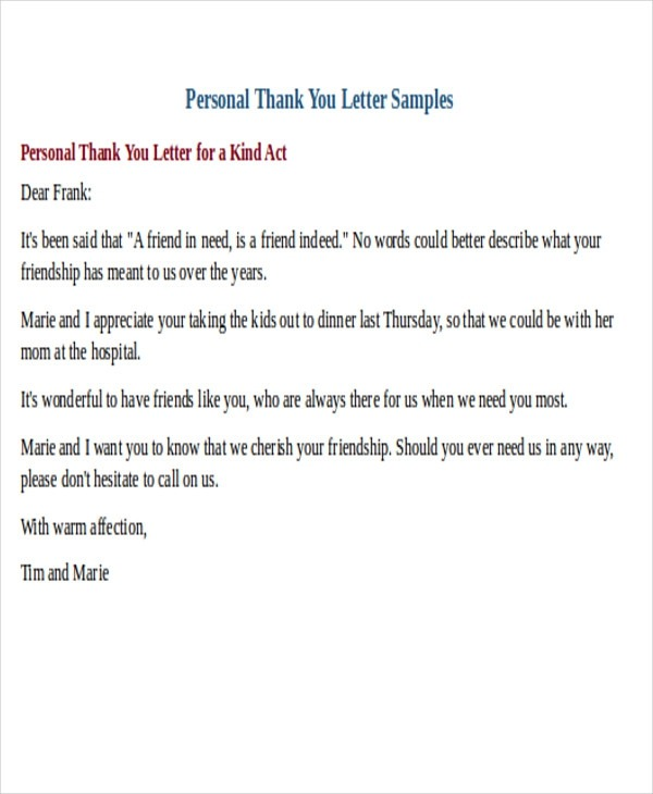 Free  Sample Thank You Letter Templates In Pdf