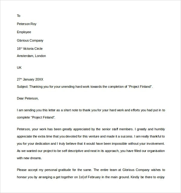 Free  Sample Thank You Letter To Employer In Pdf