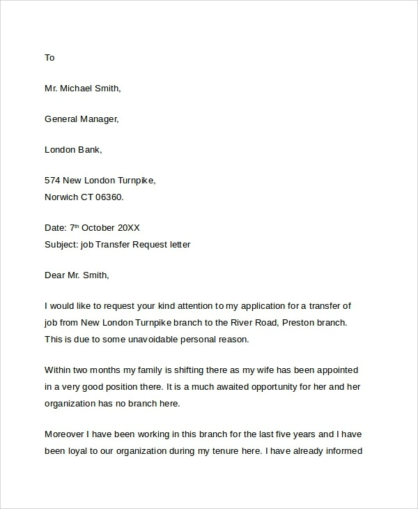 Free  Sample Transfer Request Letter Templates In Pdf