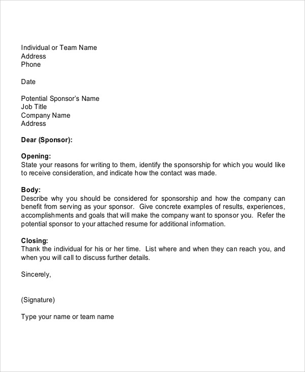 Free  Sports Sponsorship Letter Samples In Pdf