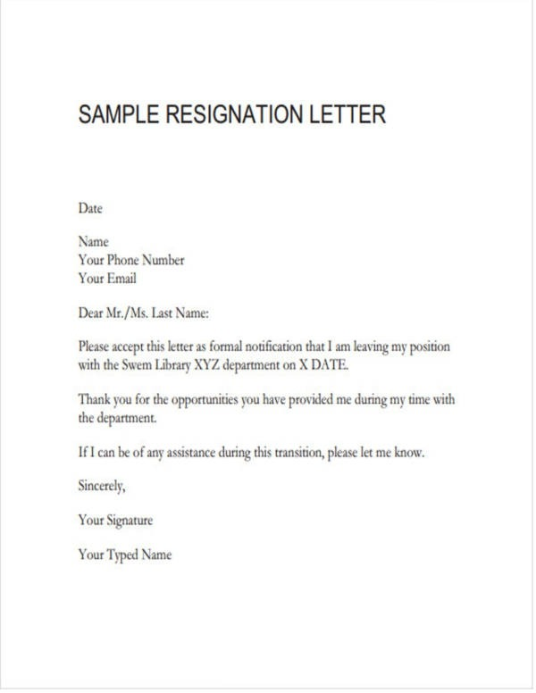 Free  Teacher Resignation Letter Samples And Templates In Pdf