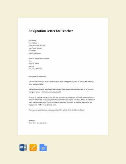Free  Teacher Resignation Letter Templates In Ms Word