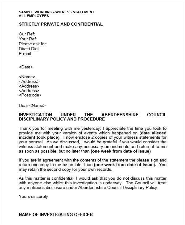 Free  Witness Letter Formats In Pdf