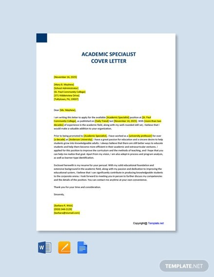 Free Academic Specialist Cover Letter