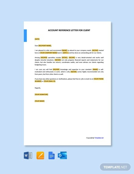 Free Accountant Reference Letter For Client Template