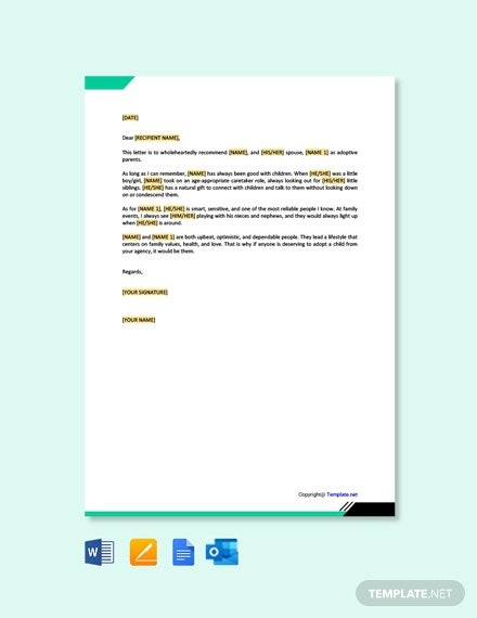 Free Adoption Reference Letter For Family Member Template
