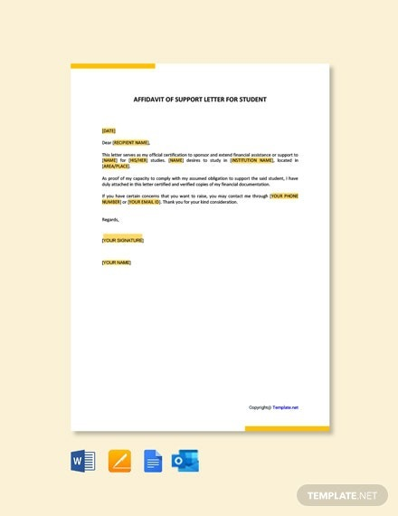 Free Affidavit Of Support Letter For Student Template
