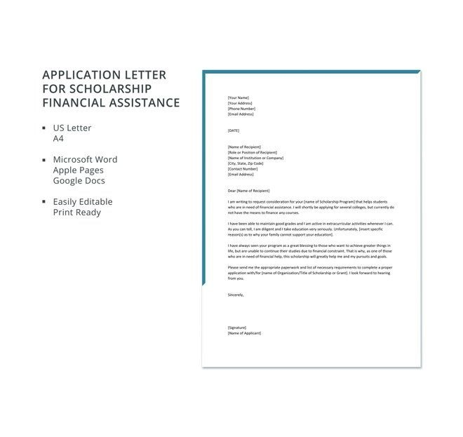 Free Application Letter For Scholarship Financial Assistance